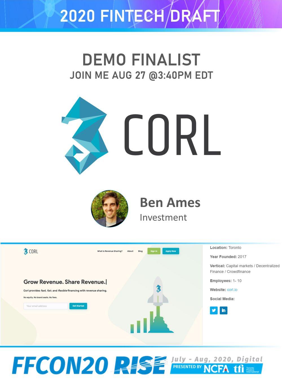 FFCON20 DEMO Finalist card - Corl Financial Technologies resize