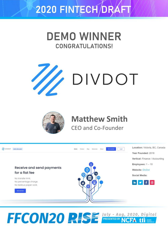 FFCON20 Fintech Draft Demo winner -DivDot_