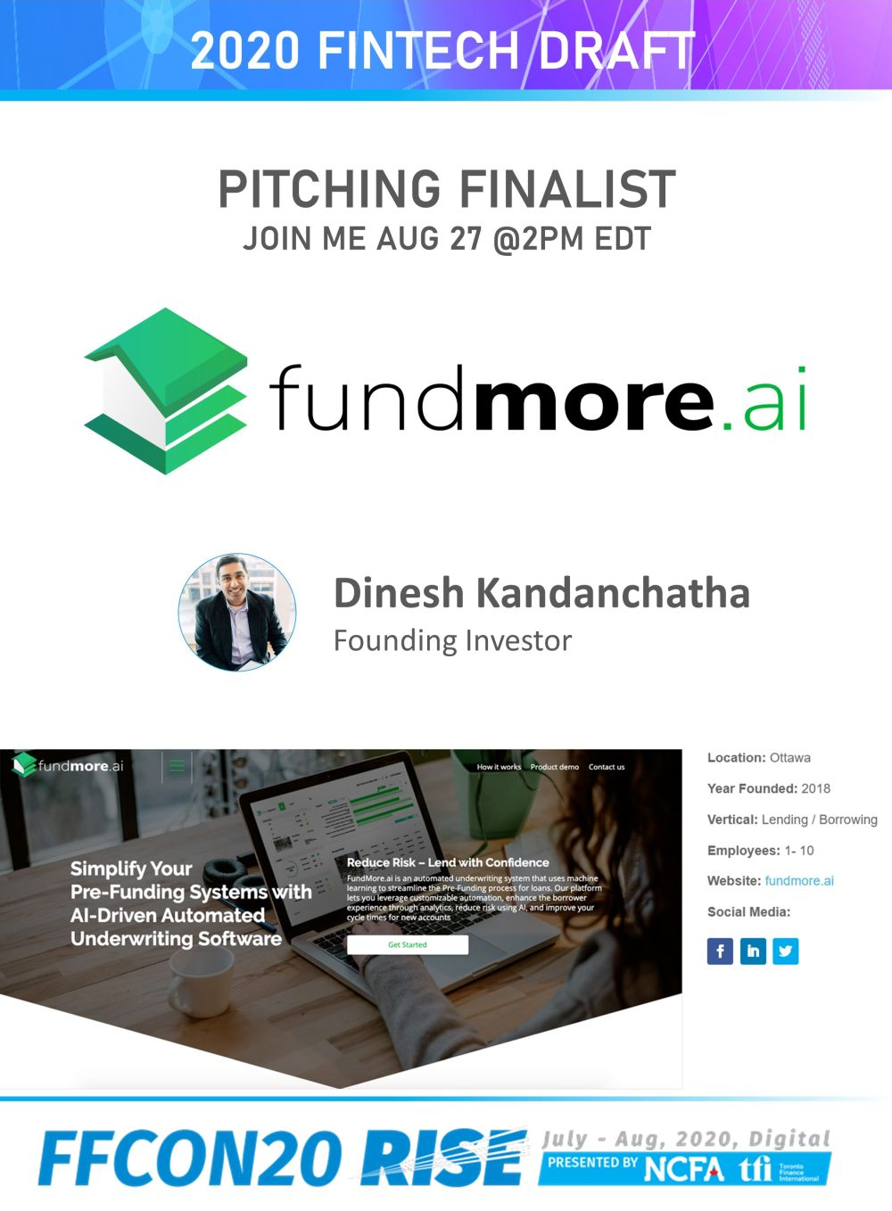 FFCON20 Pitching Finalist card - FundMore.ai resize
